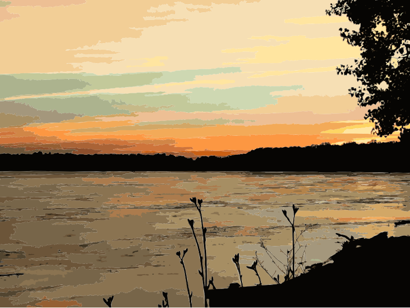 Missouri river sunset