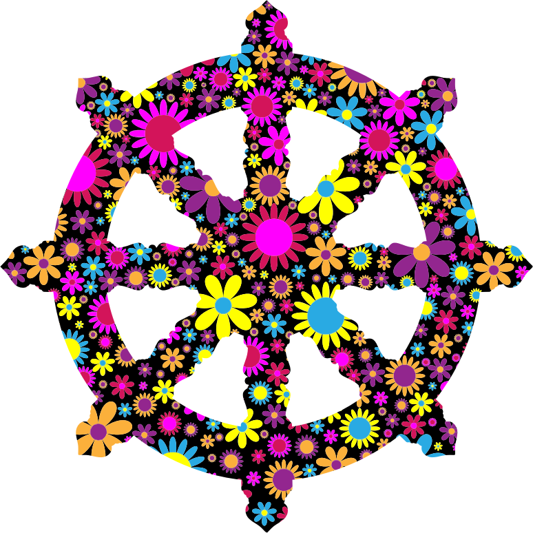 Floral Ornate Dharma Wheel Silhouette