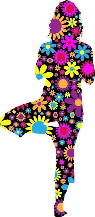 Floral Woman Yoga Pose Silhouette