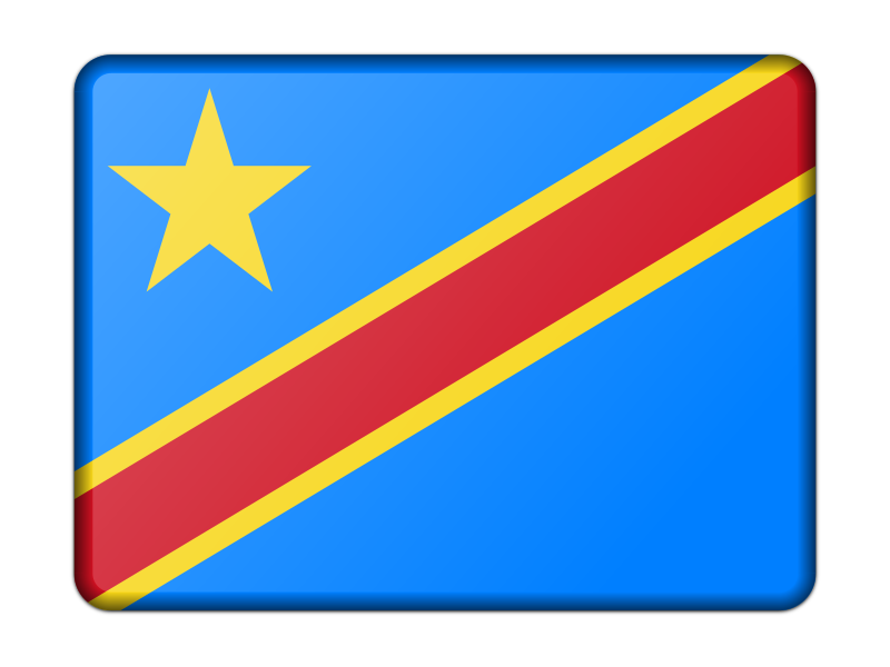 Flag of Democratic Republic of the Congo (bevelled)