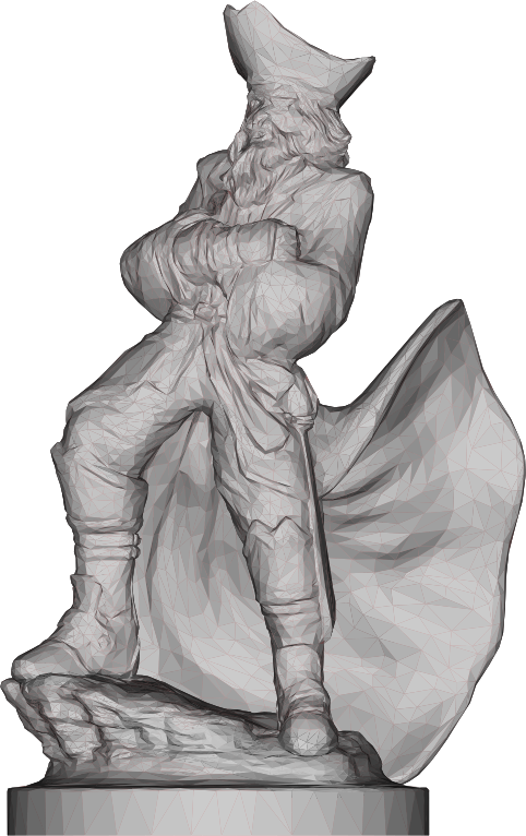 Low Poly Pirate Sculpture