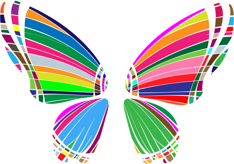 RGB Butterfly Silhouette 10