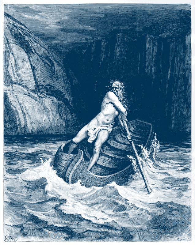 Charon, by Doré 1857 (in blue ink)