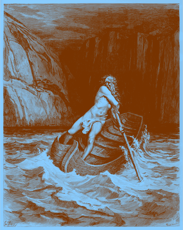 Charon, by Doré 1857 (in orange ink on blue paper)