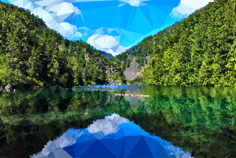 Low Poly Azure Corundum Lake