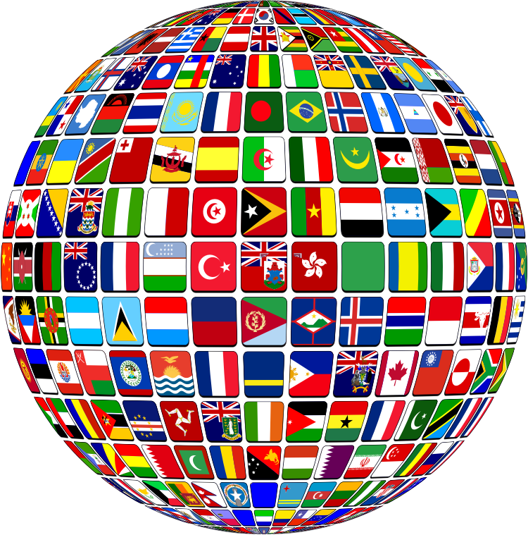 World Flag Buttons Globe