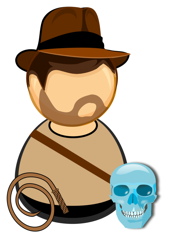 Adventurer in a hat, with a whip and glass skull