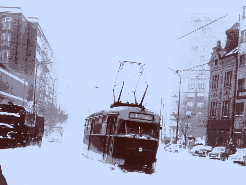 Street Car in the Snow