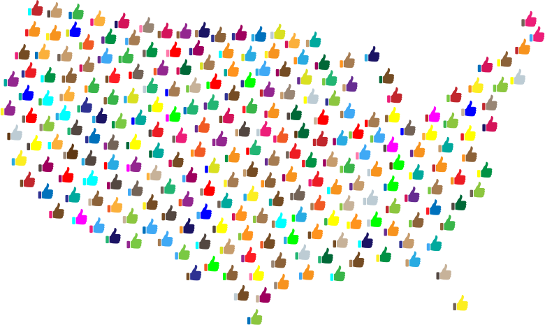 Prismatic Thumbs Up United States Map