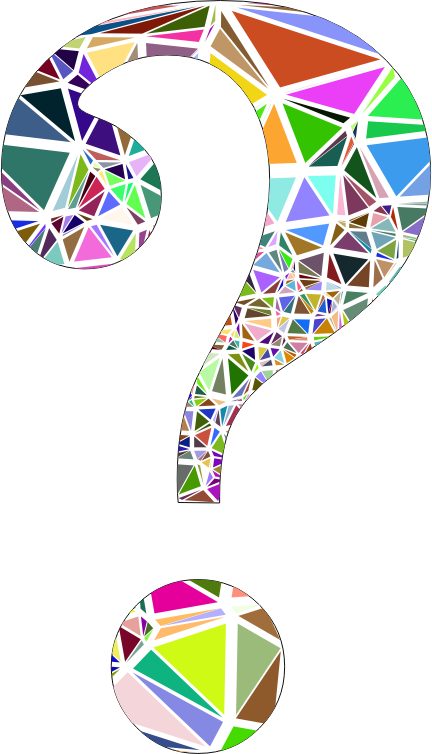 Low Poly Shattered Question Mark With Stroke