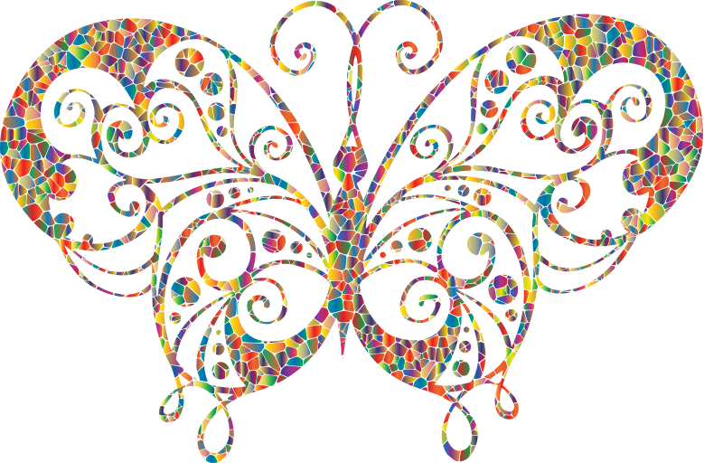 Polyprismatic Tiled Flourish Butterfly Silhouette