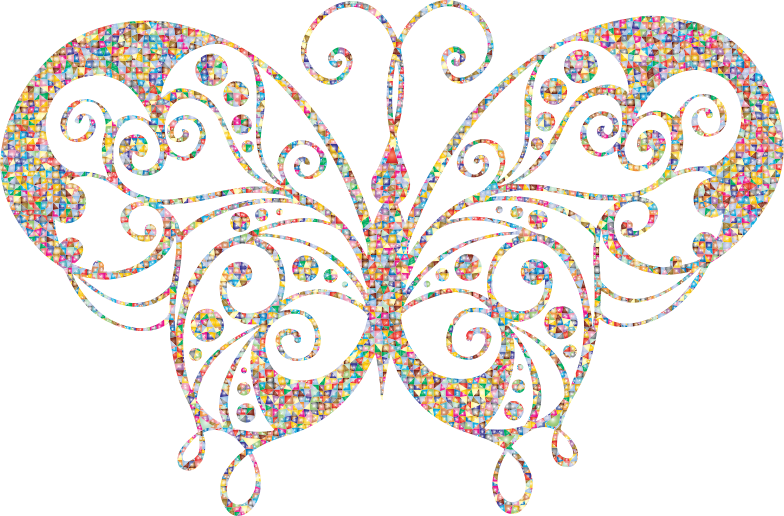 Polygonal Candy Flourish Butterfly Silhouette