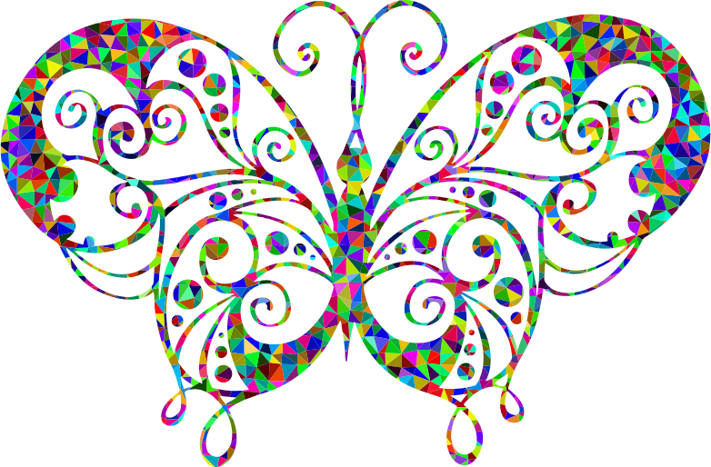 Low Poly Prismatic Flourish Butterfly Silhouette