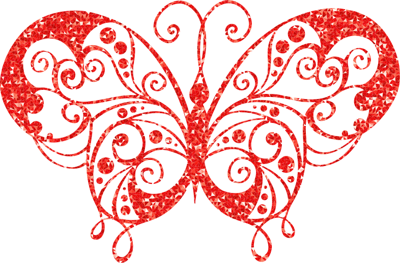 Ruby High Detail Flourish Butterfly Silhouette
