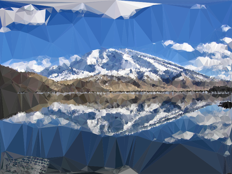 Low Poly Chinese Mountain Lake Reflection