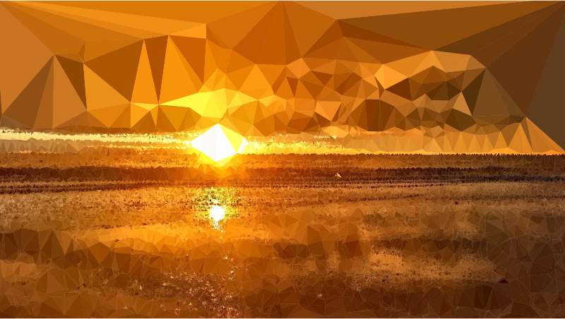 Low Poly Lens Flare Sunset
