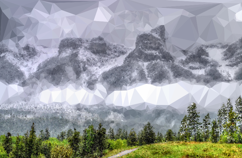Low Poly Fog Enshrouded Mountains