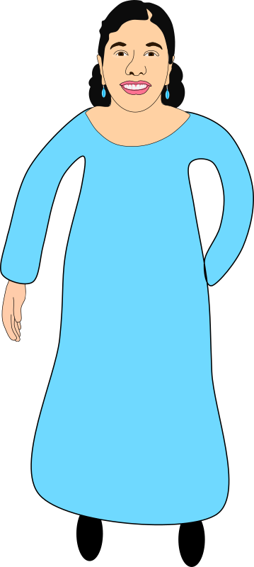 Aesha in an Aqua Blue dress