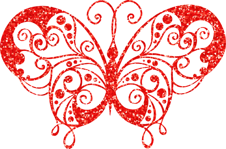Ruby High Detail Flourish Butterfly Silhouette Fixed