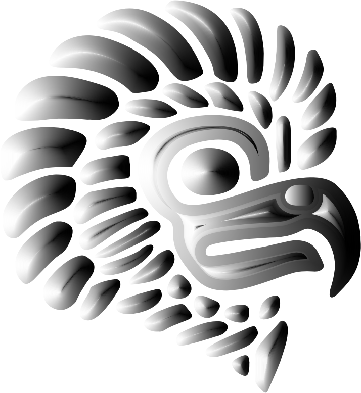 Prismatic Stylized Mexican Eagle Silhouette 4 Variation 2