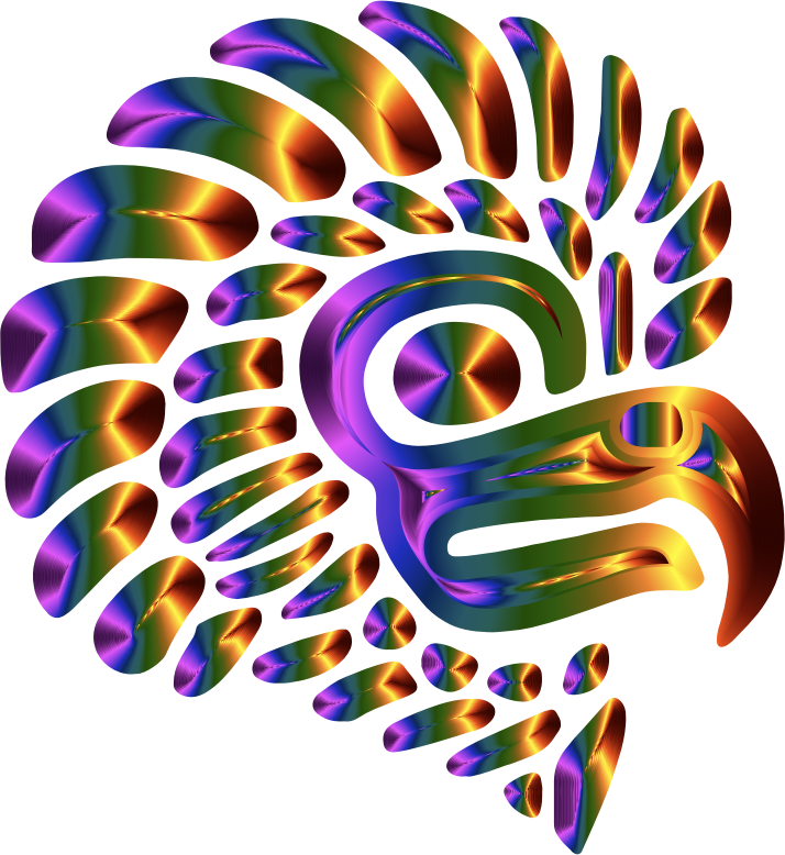 Prismatic Stylized Mexican Eagle Silhouette 5