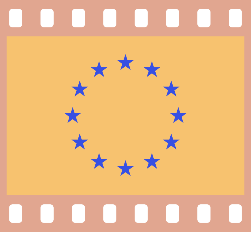 Flag of Europe in a 35 mm film frame (negative)