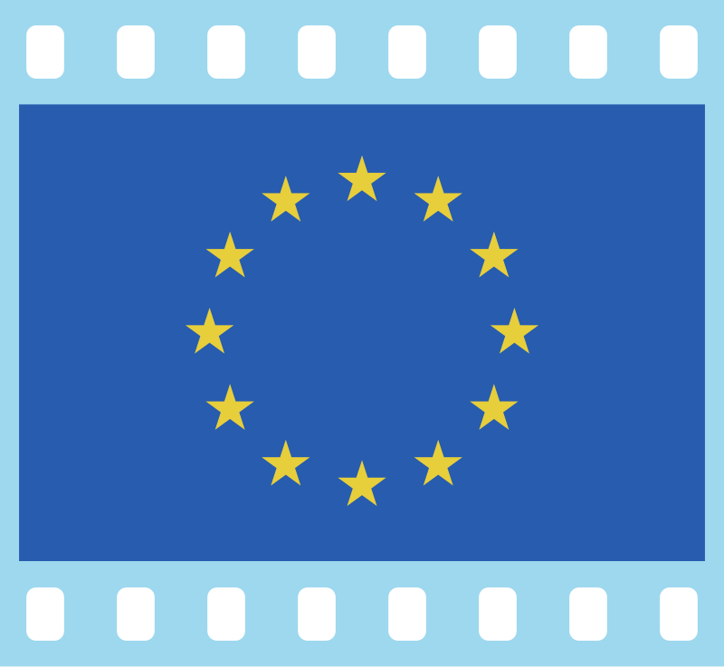Flag of Europe in a 35 mm film frame (positive)