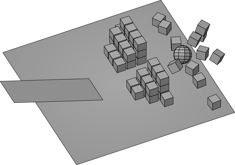 3D Ball hitting a pile of boxes