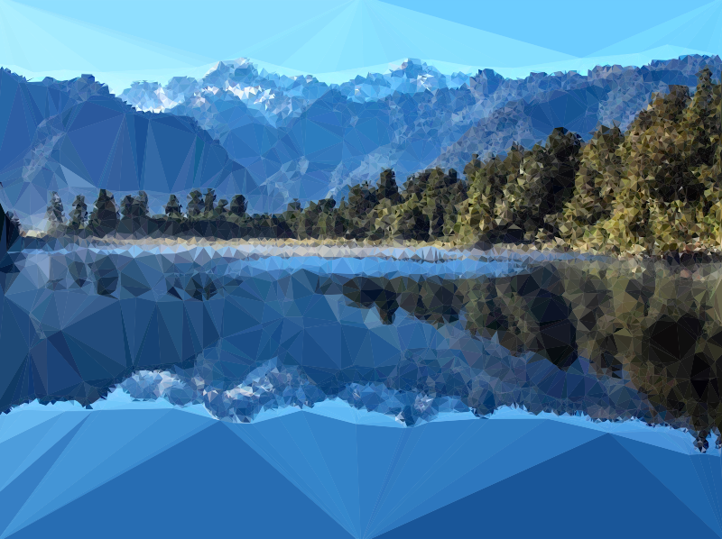 Low Poly Mirror Lake New Zealand