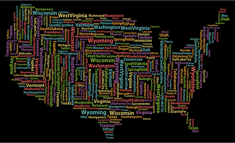 America States And Capitals Word Cloud