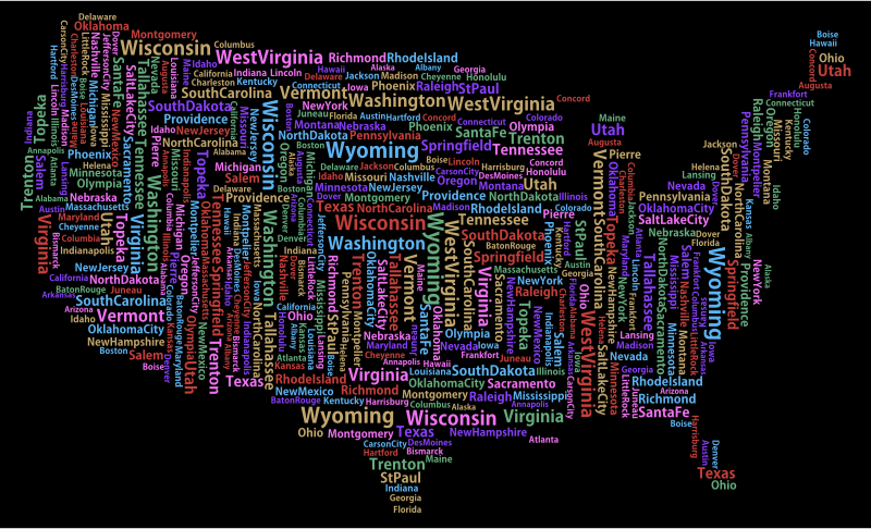 America States And Capitals Word Cloud Variation 2