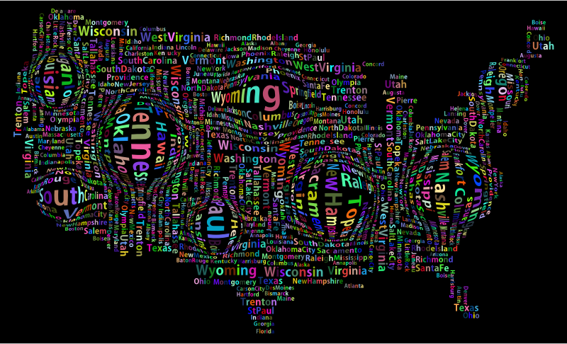 Prismatic Distorted America States And Capitals Word Cloud