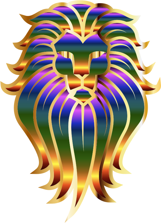 Chromatic Lion Face Tattoo 2 No Background