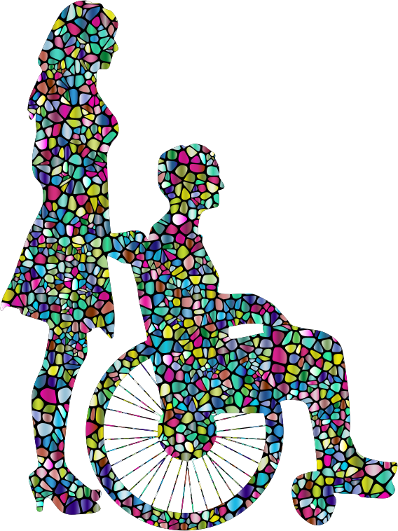 Polyprismatic Tiled Woman Pushing Man In Wheelchair Silhouette With Background