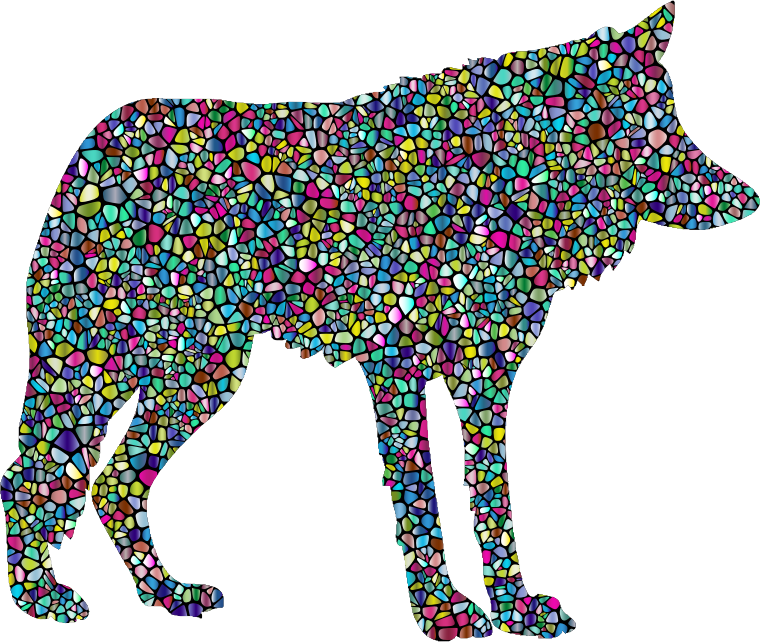 Polyprismatic Tiled Wolf Silhouette 2 With Background