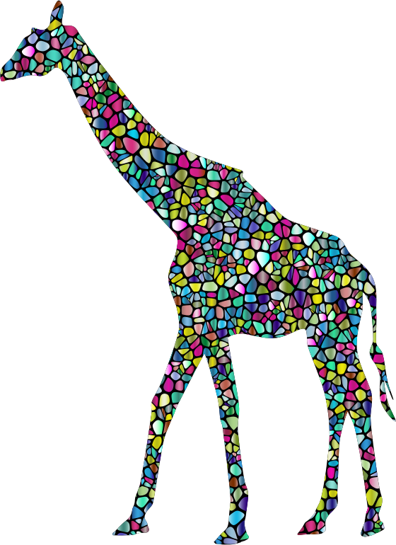 Polyprismatic Tiled Giraffe Landscape Silhouette Minus Landscape With Background