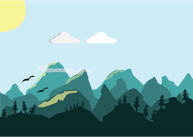 Flat Shaded Mountains Scene