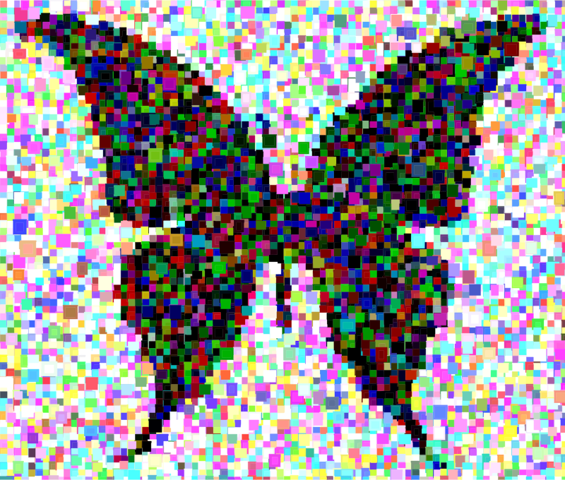 Butterfly Silhouette 6 Confetti Mosaic