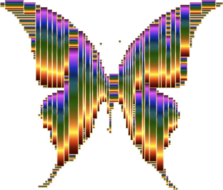 Prismatic Abstract Modern Art Butterfly 12 No Background