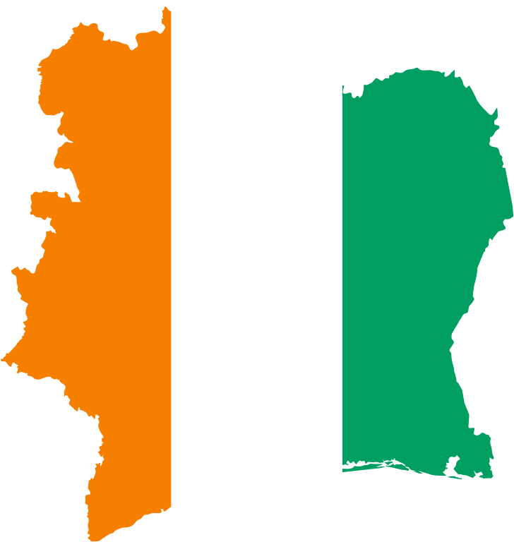 Ivory Coast Flag Map
