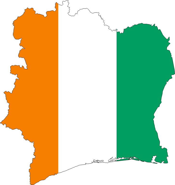Ivory Coast Flag Map With Stroke