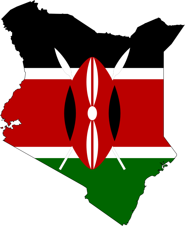 Kenya Flag Map With Stroke