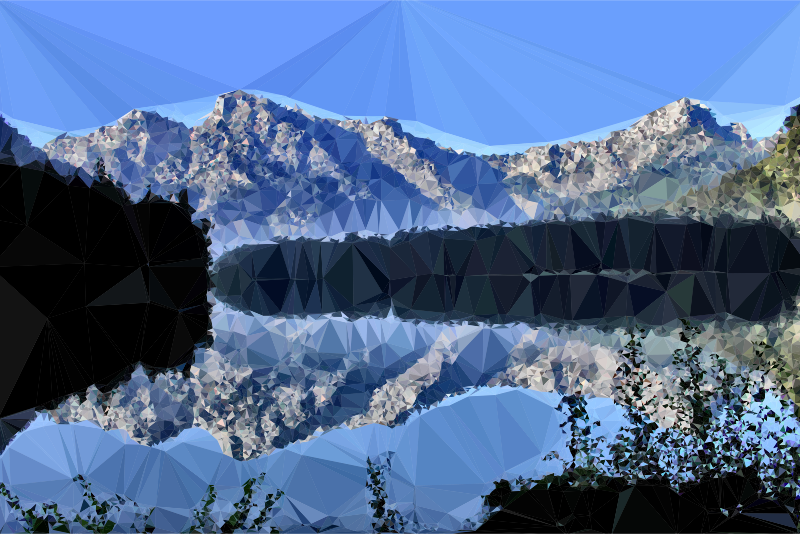Low Poly Mountain Lake Reflection