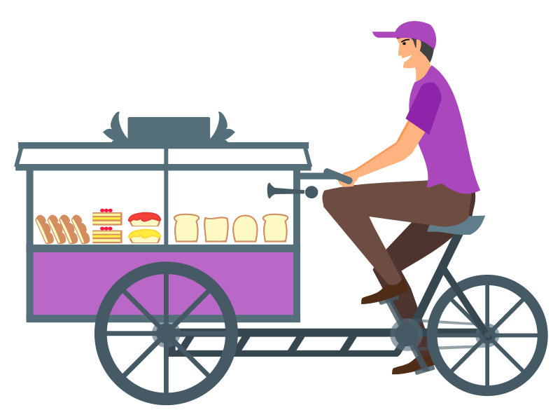 Bread Seller with Cycle Cart