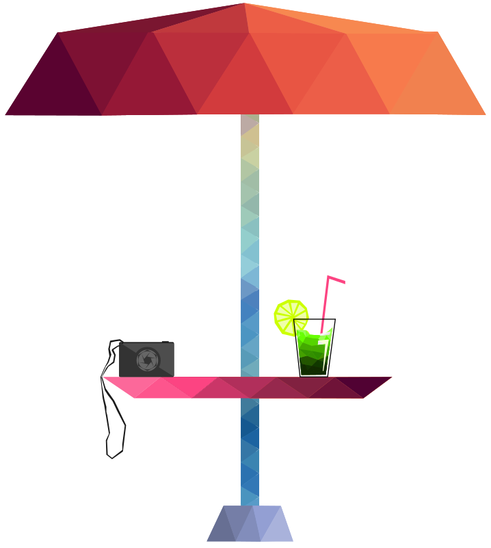 Lowpoly Beach umbrella, Camera and drink
