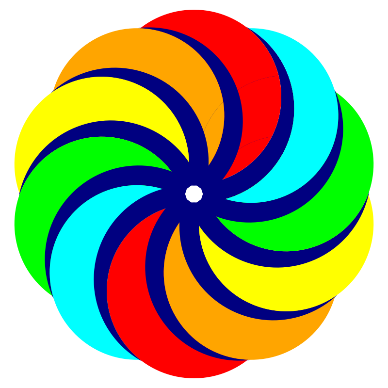 Colored Circles in Decagon shape