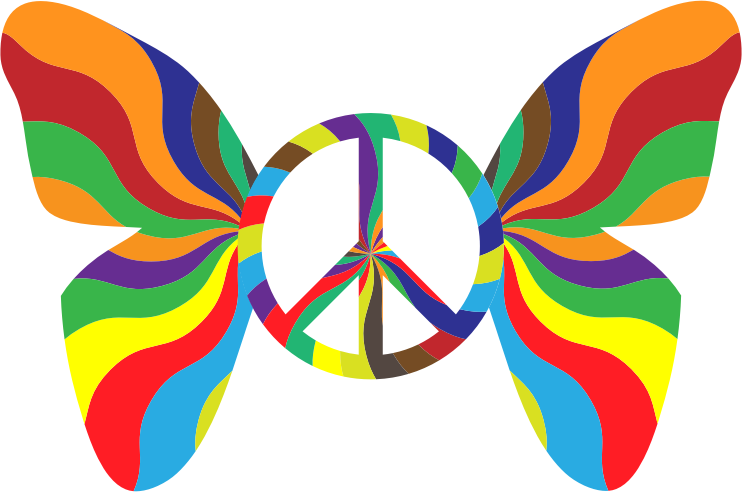 Groovy Peace Sign Butterfly 3