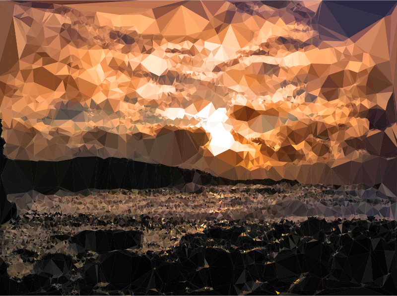 Low Poly Black Rocks Beach Sunset