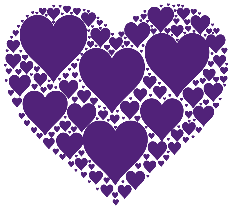 Hearts In Heart - Purple