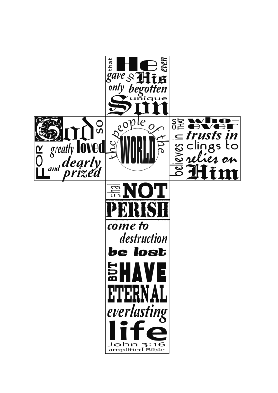 John 3:16 typography in cross